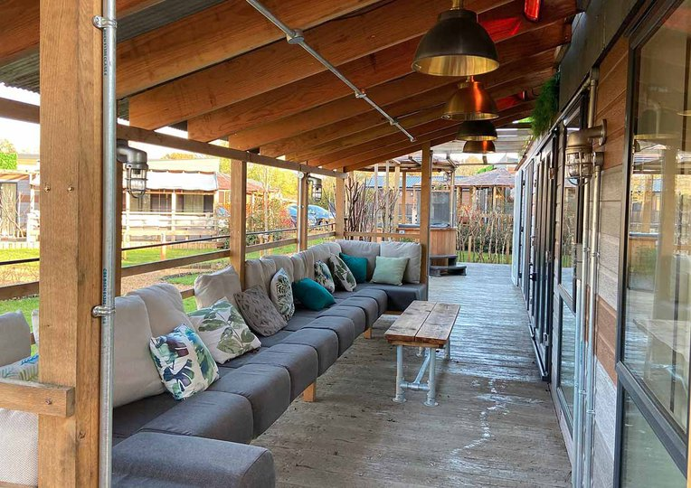 Secluded outdoor area with heaters