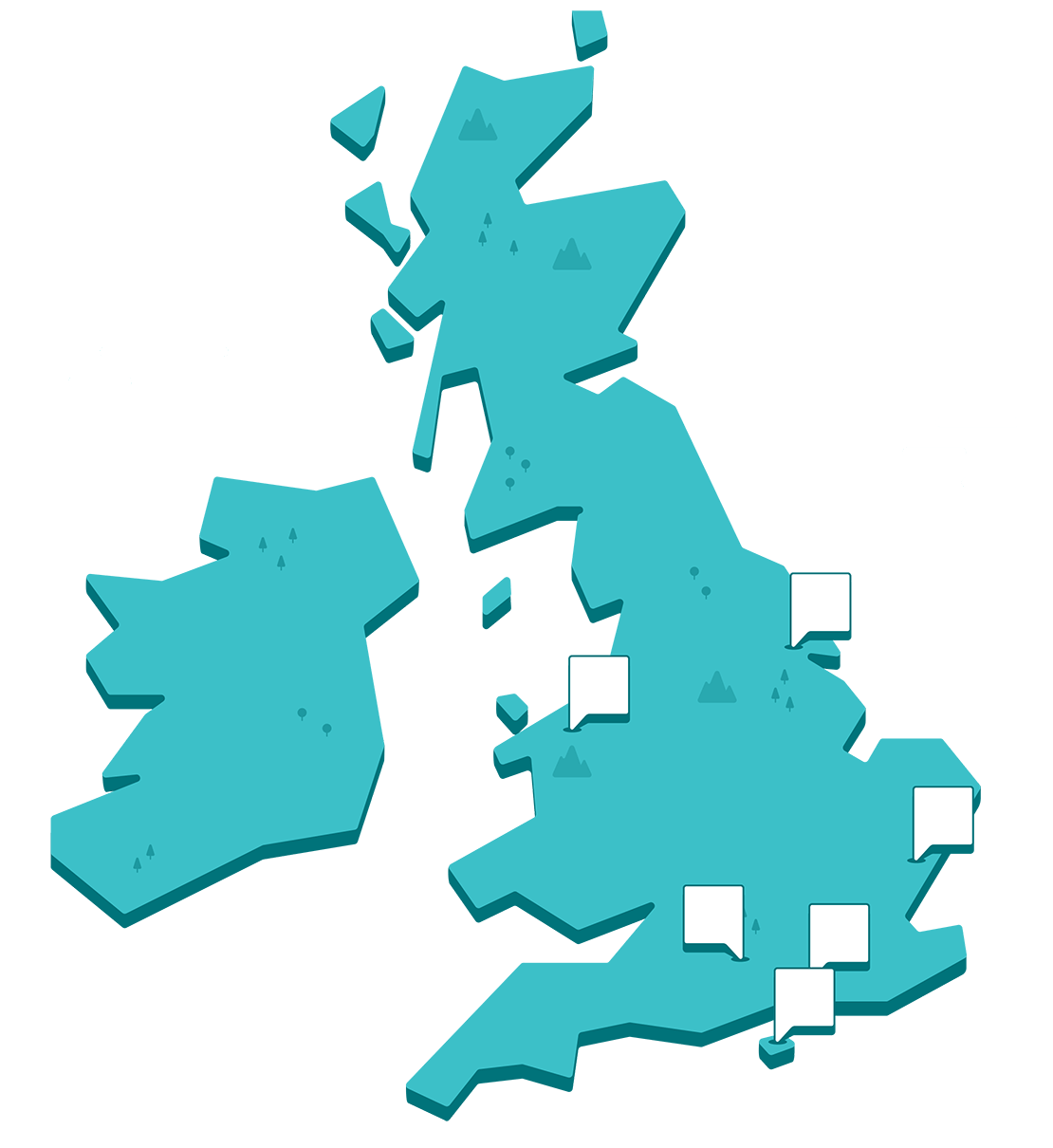 Map of the UK showing our park locations